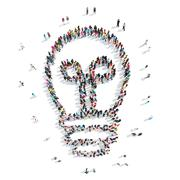 Stock Illustration of people in the shape of lamp.