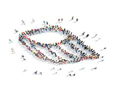 Stock Illustration of people in the form of a wing.
