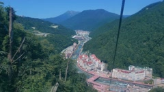 View Rosa Khutor from the cableway Olympia, Sochi, Russia. 1280x720 Stock Footage