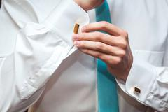 Groom preparation before wedding - stock photo