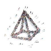 people in the shape of a pyramid. - stock illustration