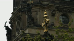 View of the golden cross of Berlin Cathedral Church Stock Footage