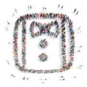 people in the shape of a shirt. - stock illustration