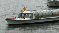 A Prince Bernhard sightseeing boat turning around on the river in Berlin Stock Footage