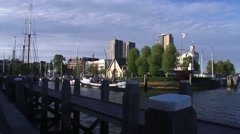 ROTTERDAM Maritime quarter + pan waterfront, Erasmus Bridge, Wilhelminapier Stock Footage
