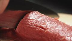 a piece of meat to cook the steak - stock footage