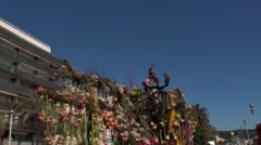 Tank of flowers in the carnival of Nice Stock Footage