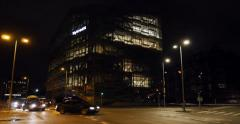 Nycredit  leading financial services company headquarter at night Stock Footage