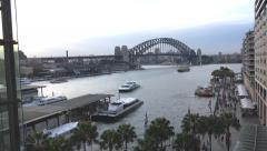 Sydney Harbour elevated view from Circular Quay Stock Footage