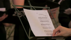 A conductors copy of the music sheet Stock Footage