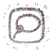 people in the shape of a buble chat , lasso. - stock illustration