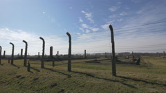 Barbed wires at Auschwitz - stock footage