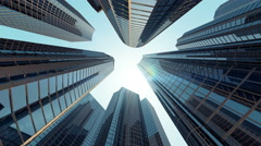 Corporate Buildings with Sun Light and Flying Airplane under the Skyscrapers - stock footage