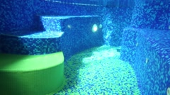 Under water view on transparent pool with blue tiles and stairs Stock Footage