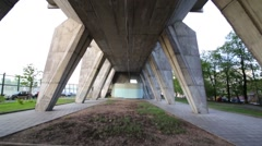 Under view of Building on chicken legs in Moscow. Stock Footage