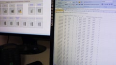 Microsoft Excel table with data of heat meters. - stock footage