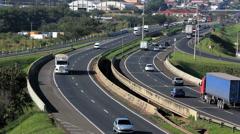 Traffic, Cars, Trucks. Brazilian Highway. Road.  - stock footage