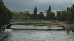 View of a bridge over Spree River in Berlin Stock Footage