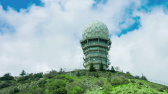 Satellite aerials on secret research laboratory. Observatory building with dome Stock Footage