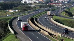 Time lapse. Traffic, Cars, Trucks. Brazilian Road - stock footage