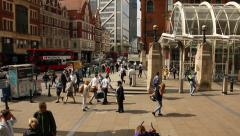 People walking into Liverpool street station, London Stock Footage