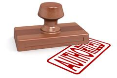 Wooden stamp authorized with red text - stock illustration