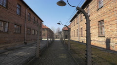 Buildings and fences at Auschwitz Concentration Camp Stock Footage