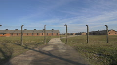 Stock Video Footage of Barbed wire fence at Auschwitz