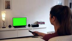 Remote Control Green Screened Tv home - 1080p Stock Footage