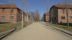Buildings and guard tower at Auschwitz - stock footage