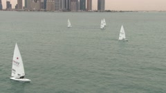 Sailing in Doha, Qatar Stock Footage