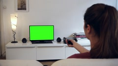 Remote Control Green Screened Tv living room - Full HD - stock footage