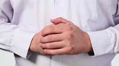Connected male hands thumb up in white striped shirt Stock Footage