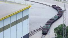 Railway wagons for metal transportation Stock Footage