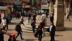 Passengers walking into Liverpool street station, London Stock Footage