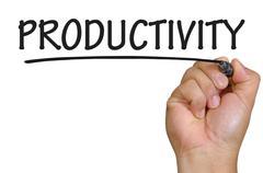 Hand writing productivity Stock Photos