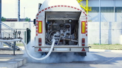 Filling tanker truck with liquid nitrogen Stock Footage