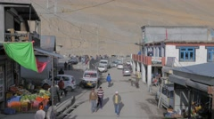 Shopping street seen from above,Kaza,Spiti,India Stock Footage
