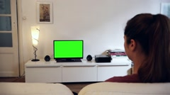 Girl Watches Green Screened Tv Living Room - Full HD Stock Footage