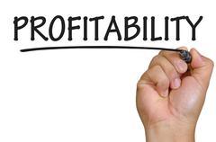 hand writing profitability - stock photo
