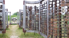 Wooden installation of open air museum at summer day Stock Footage