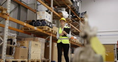 Portrait of a smiling businesswoman in a large production facility. Stock Footage