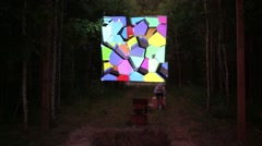 Hanging  geometrical shapes in forest at International Festival Stock Footage