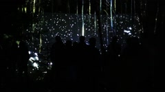 Silhouettes of people looking lights show in dark forest at night Stock Footage