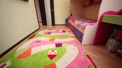 Interior of modern childrens room with colorful furniture Stock Footage