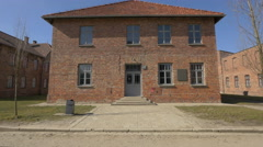 Entrance to Block 27 at Auschwitz Concentration Camp Stock Footage