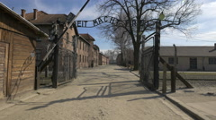 Auschwitz Concentration Camp entrance Stock Footage
