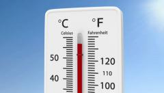 Thermometer with increasing temperature. Stock Footage