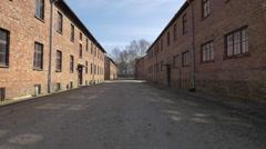 Stock Video Footage of Between the blocks of Auschwitz