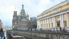 Time-lapse of the Griboedov canal and the Church of the Savior on the Blood Stock Footage